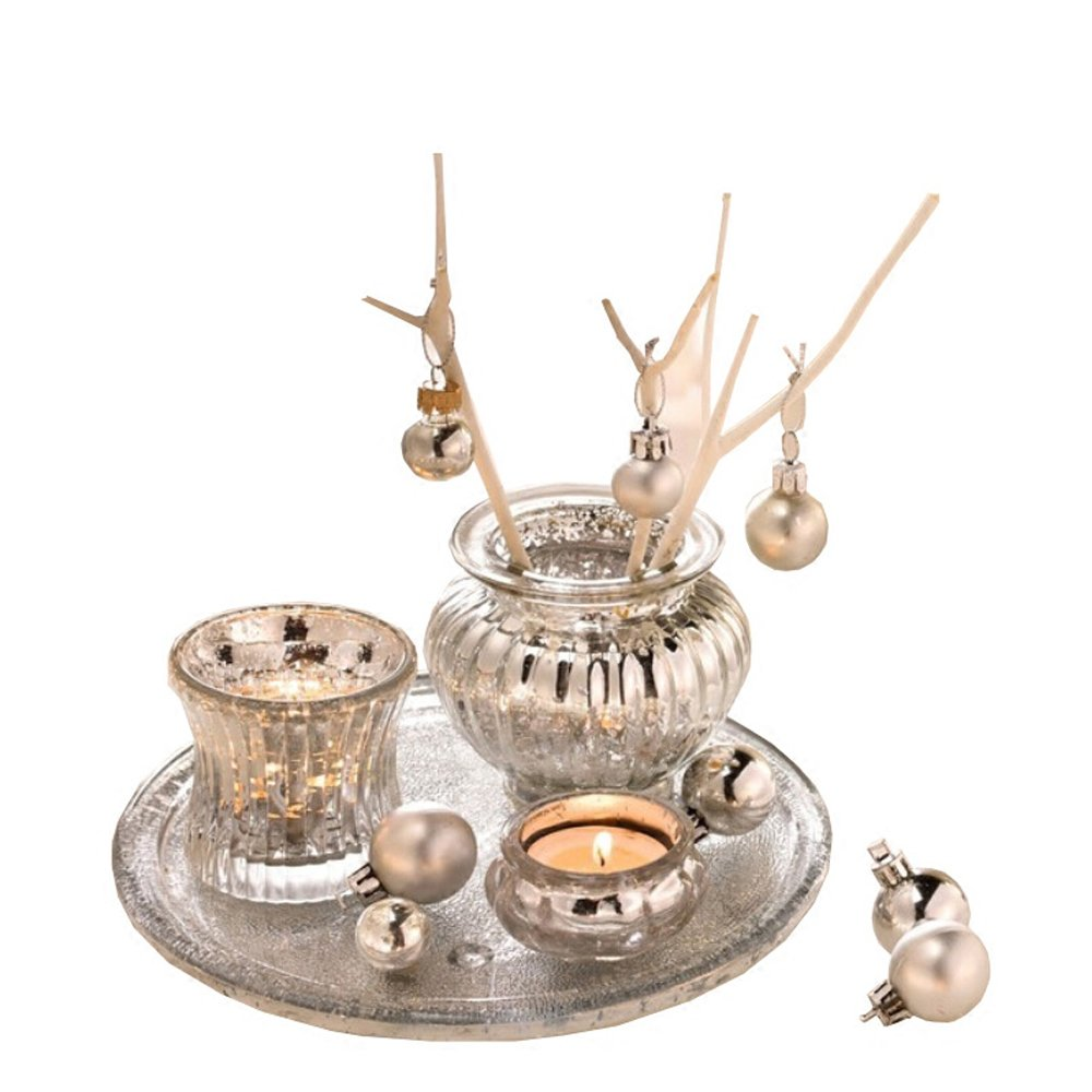 Modern Silver Mercury Glass Candle Holder Set of 3 Romantic European Style Wedding Dinner Bar Decor With Beads Plate Laugh Cat