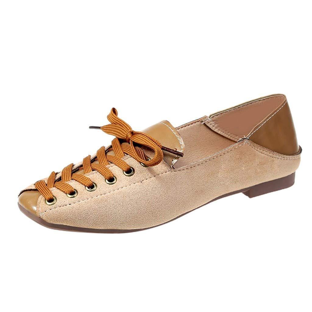 HENWERD Women's Fashion Flock Shallow Lace Up Platform Slipper Single Casual Shoes (Yellow,5 US)