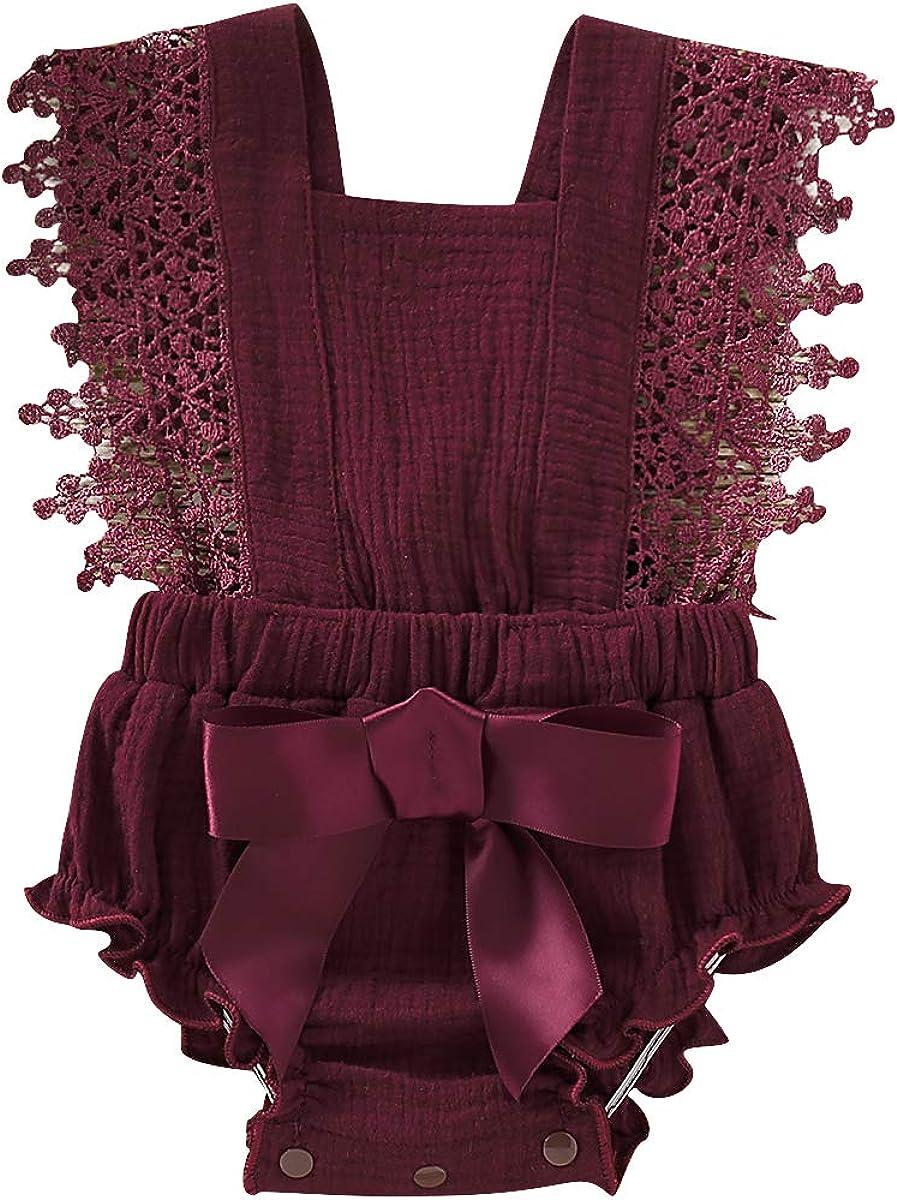 Lace Bowknot Bodysuits Sunsuits Baby Ruffle Jumpsuit Outfits Haokaini Newborn Summer Sleeveless Romper