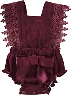 Haokaini - Newborn Summer Sleeveless Romper, Baby Ruffle Jumpsuit Outfits, Lace Bowknot Bodysuits Sunsuits