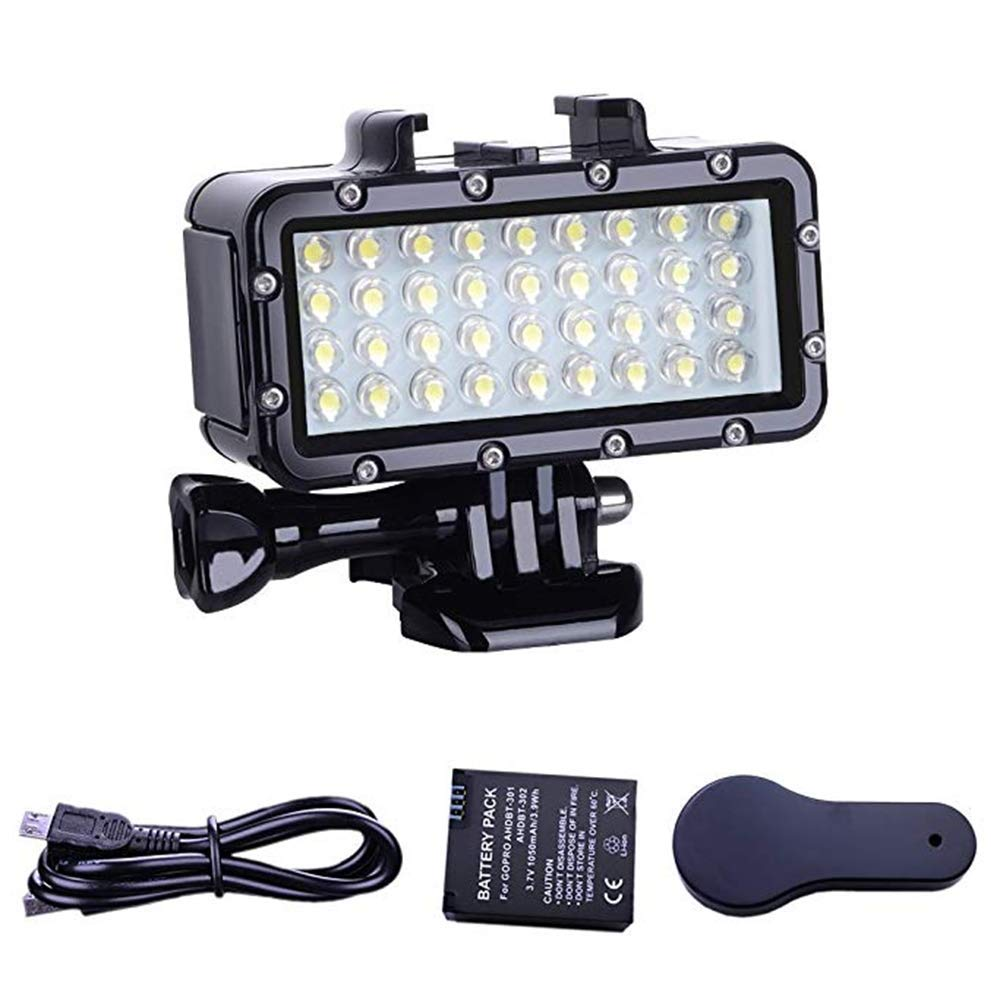 YWT Rechargeable Diving Light Dimmable Waterproof LED Video Light, 147 ft / 45 m, for Gopro Hero 6/5/5S/4/4S/3 +/2/SJCAM/YI Action Camera by YWT