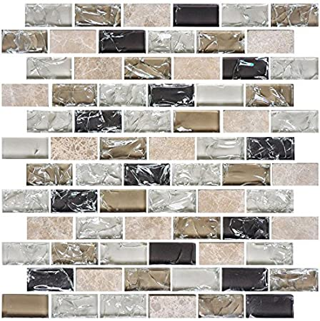 X 12 In. DK-RS234873C1 HYH 8mm Thickness Electroplated Glass Stone Blend Mesh-mounted Mosaic Tile Sheet for Kitchen Backsplash Bathroom Wall and Swimming Pool 12 In Lot of 5 Sheets