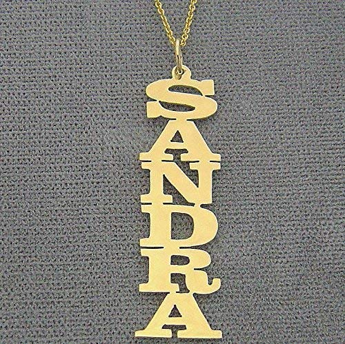 10k Yellow Gold Personalized Vertical Name Pendant Necklace Laser Cut Block Font