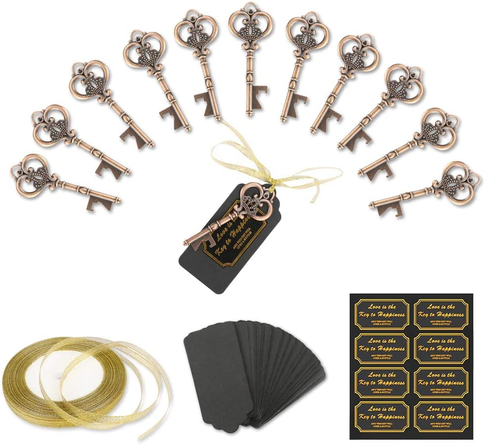 Bestcool Wedding Favors Beer Opener Key Party Decorations Guest Souvenir Gift withDIY Cardboard Tag Card Party Favours Event Party Supplies 50 pcs Keys Bottle Opener