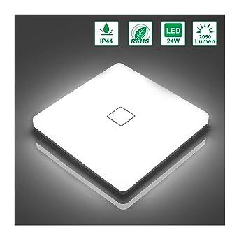 Öuesen Lámpara de techo LED 24W IP44 2050lm Plafón LED Moderno Blanco Frío 5000K para Pasillo