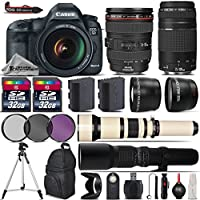 Canon EOS 5D Mark III DSLR Camera + Canon 24-105mm IS USM Lens + Canon 75-300mm Lens + 650-1300mm Telephoto Lens + 500mm preset Zoom Lens + 0.43X Wide Angle Lens - International Version