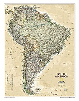National Geographic Art Quality Print Caribbean Classic Wall Map 36 x 24 inches