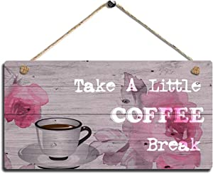 Smarten Arts Vintage Wood Wall Hanging Sign Coffee Home Decor Sign Kitchen Wall Art Sign