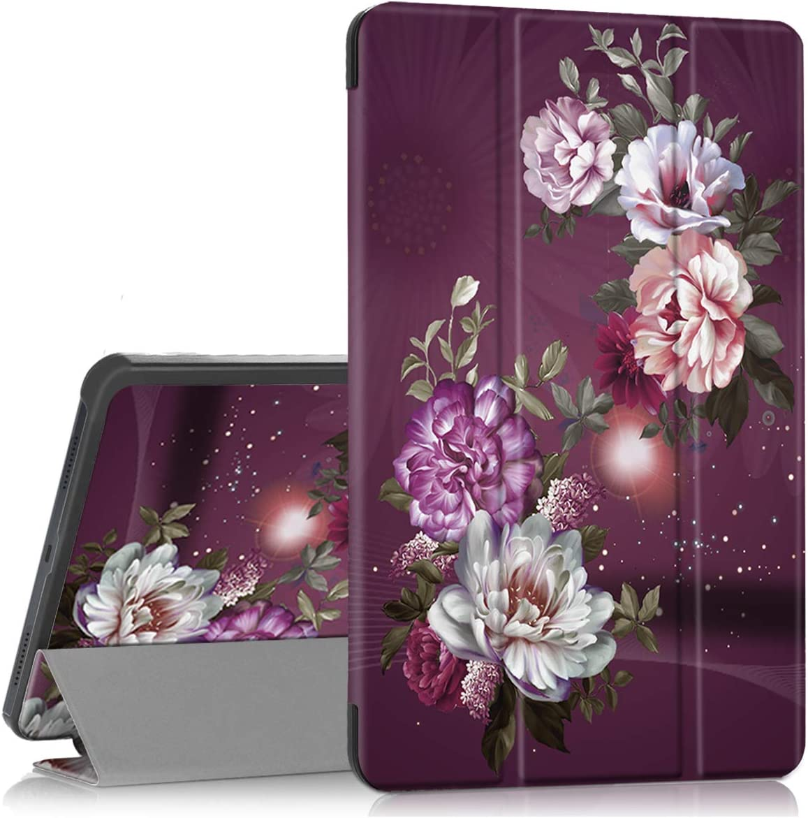 Hocase Galaxy Tab A 10.1 (2019) SM-T510/SM-T515 Case, PU Leather Case with Cute Flower Design, Tri-Fold Stand Feature, Hard Back Cover for Samsung Galaxy Tab A 10.1-Inch 2019 - Burgundy Flowers