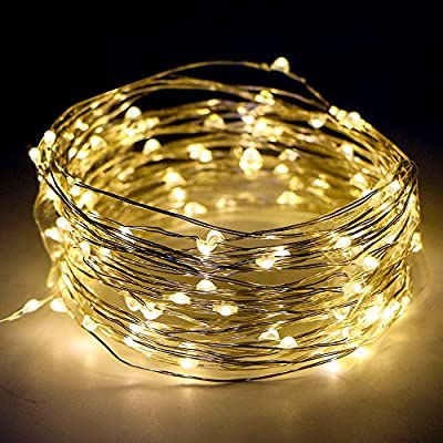 Kany 100LED 33ft Copper Wire Starry String LED Lights Battery Powered with Remote Control 8 Modes String Lights for Indoor Outdoor, Christmas, Party Waterproof fairy string light (Warm White)
