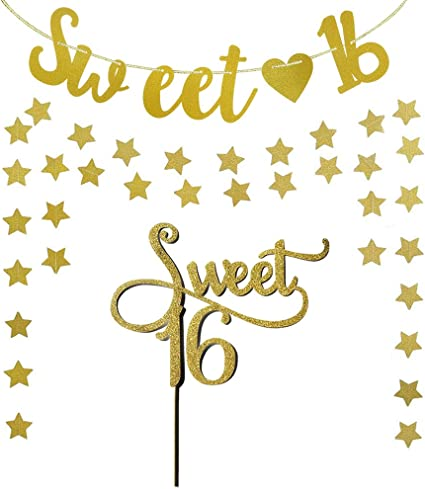 Amazon Com Gold Sweet 16 Monogram Banner Star Garland And Sweet 16 Cake Topper For Birthday Party Decorations Supplies By Shxstore Toys Games