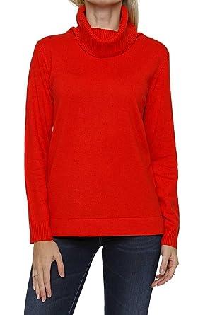 Lai La New York Jersey de Cuello Alto el cachemir MARIA, Color: Rojo, Tamaño: 36: Amazon.es: Ropa y accesorios