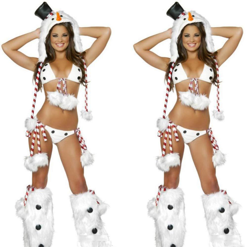 CVCCV Sexy Dreipunkt-Erotik-Dessous Weihnachten Schneemann spielt Uniform Halloween Tier Performance-Bekleidung Polyester-Gewebe