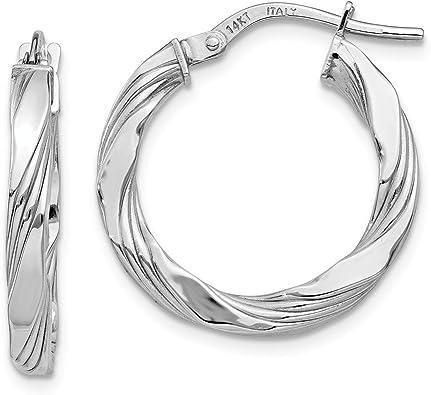 14k White Gold Textured Oval Hinged Hoop Earrings Ear Hoops Set Fine Jewelry