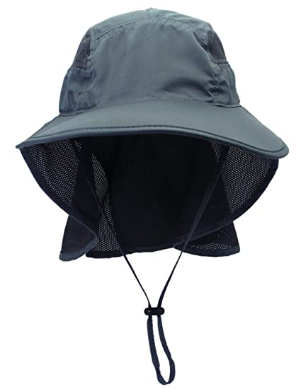 a7a58aee Amazon.com: Outdoor Womens Sun Hat, UV Protection Wide Brim Cap with Neck  Flap for Safari, Fishing, Hiking, Beach, Golf Black-Grey: Clothing