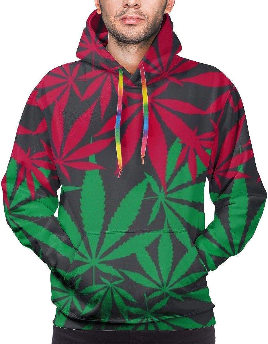 Harry wang Sudadera con Capucha para Hombre Hemp Cannabis Leaf Colorful Seamless Vector Pattern Sudadera