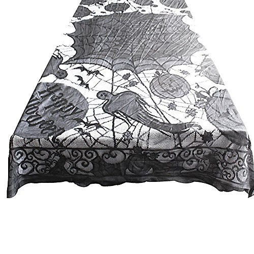 Seven One Grisly Bloody Spider Web for Halloween Decoration Black Polyester Halloween Tablecloth Tablecover Festive Party Supplies