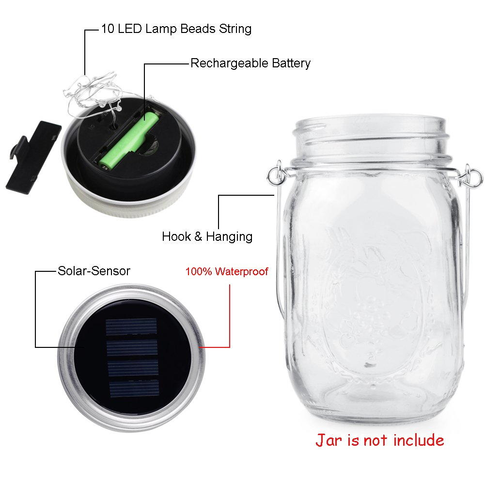 Solar Mason Jar Lid, Mason Light Lid Hanging Lamp Outdoor Lantern for Wedding Christmas Holiday Party Lighting