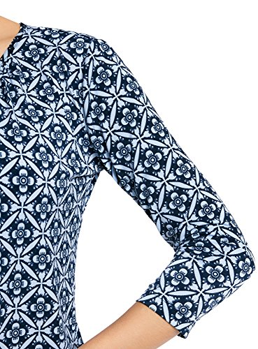 oodji Ornements Fluide en Bleu 7970o Mtal Collection Femme en Blouse avec Tissu rxZW6qrB0w