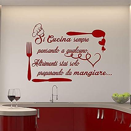 Amazon.com: Peel and Stick Mural Italian Quote Si Cucina ...