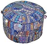 khushvin Handmade Pouf Indian Patchworkl blue Ottoman Bohemian Indian Patchwork Ottoman Vintage Sari Patchwork Ottoman Traditional Ottoman