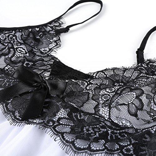 1b13064951 BMAKA Pijama Lencería Picardías de Encaje y Tanga a Juego para Mujer Blanco