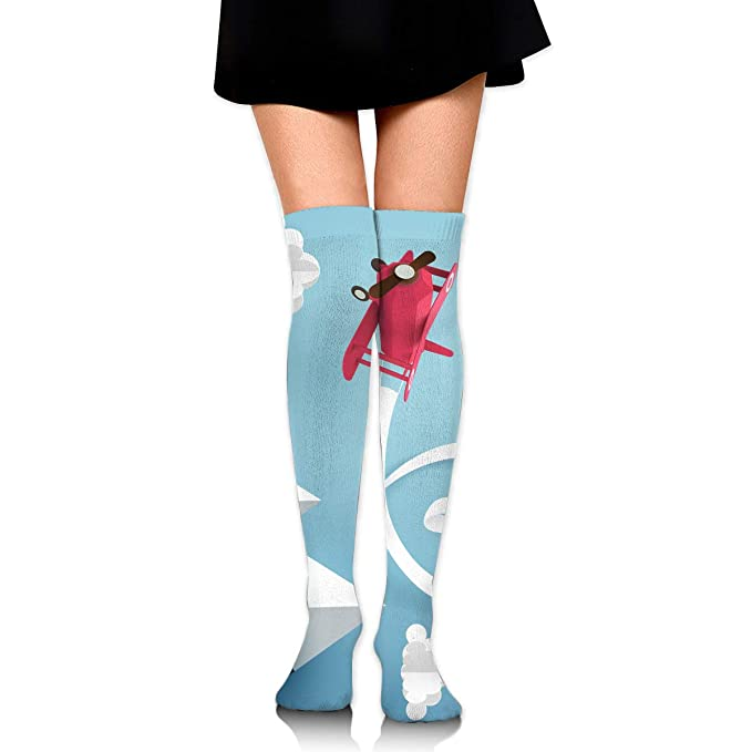 c60a877ac Women s Long Socks Paper Art Of Ribbon Hang With A Pink Plane Flying ...