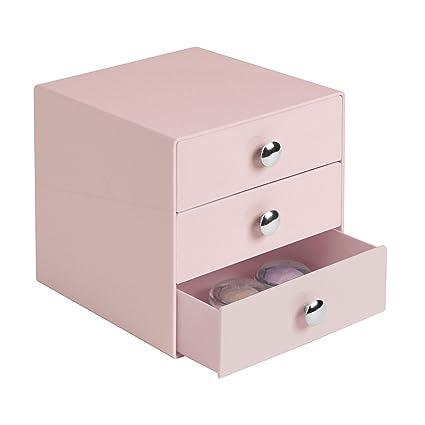iDesign Organizador de maquillaje con 3 cajones, compacta minicómoda de plástico, mini cajonera cuadrada para productos de belleza y cosméticos, rosa