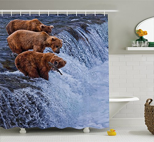Wildlife Decor Shower Curtain by Ambesonne, Grizzly Bears Fishing in River Waterfalls Cascade Alaska Nature Camp View, Fabric