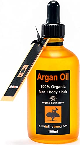 Pure Argan Oil 100ml. 100% Pure and EcoCert Certified Organic. For Face, Body, Hair and Nails. Cold-Pressed, Premium Quality, Moroccan Oil.