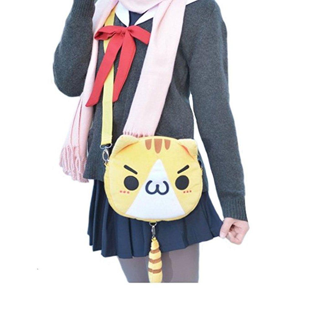 TOMORI Cute Women Anime Kaomoji-kun Emotiction plush kawaii Cat single Cross Body shoulder bag (Yellow)