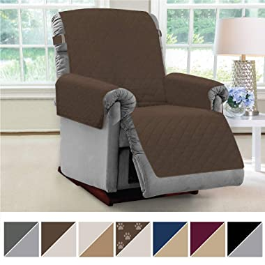 MIGHTY MONKEY Premium Reversible Couch Slipcover, Seat Width to 28  Furniture Protector, 2  Elastic Strap, Washable Slip Cover, Covers Protect from Kids, Dogs, Cats, Pets (Recliner: Chocolate/Taupe)