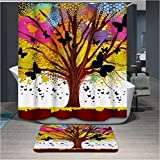 Anti-bacterial polyerster Shower curtains, Colorful Multicolored trees, size Width X Height / 72 x 72 inches / W * H 180 by 180 cm Modern design, best fit for wife