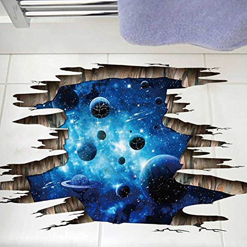 Cheap  3D Blue Galaxy Wall Stickers- Universe Scene with Planets Stars Starry Sky-..
