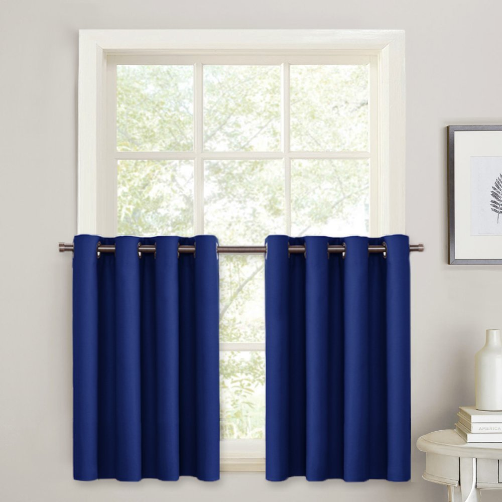 PONY DANCE Blackout Curtain Tiers - Light Block Panels Energy Saving Drapes Set Blinds Grommet Top Window Treatments Valances for Kitchen Small Windows, 52'' W x 36'' L, Navy Blue, 2 Pieces
