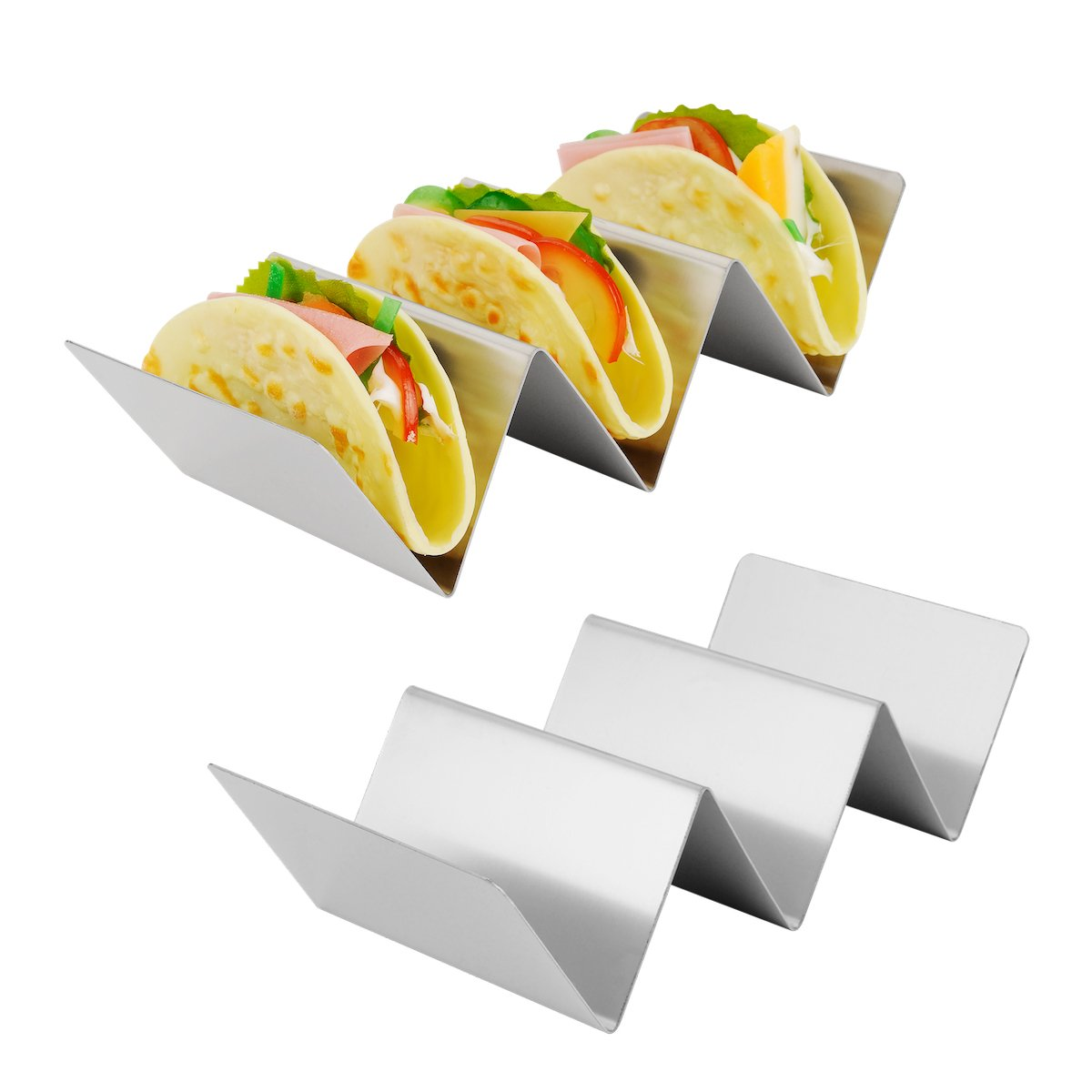 Amazer 2 Pack Taco Holder Stand, Large Stainless Steel Taco Rack Hold Hard or Soft Taco Shells, Oven Safe for Baking Dishwasher and Grill Safe -Hold 2 or 3 Tacos