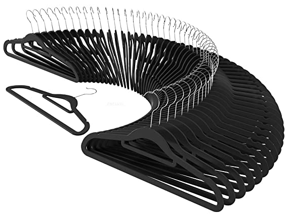 CRESNEL 50pcs Velvet Clothes Hangers - Slim Space Saving Design for Men and Women Dress Suit - Black