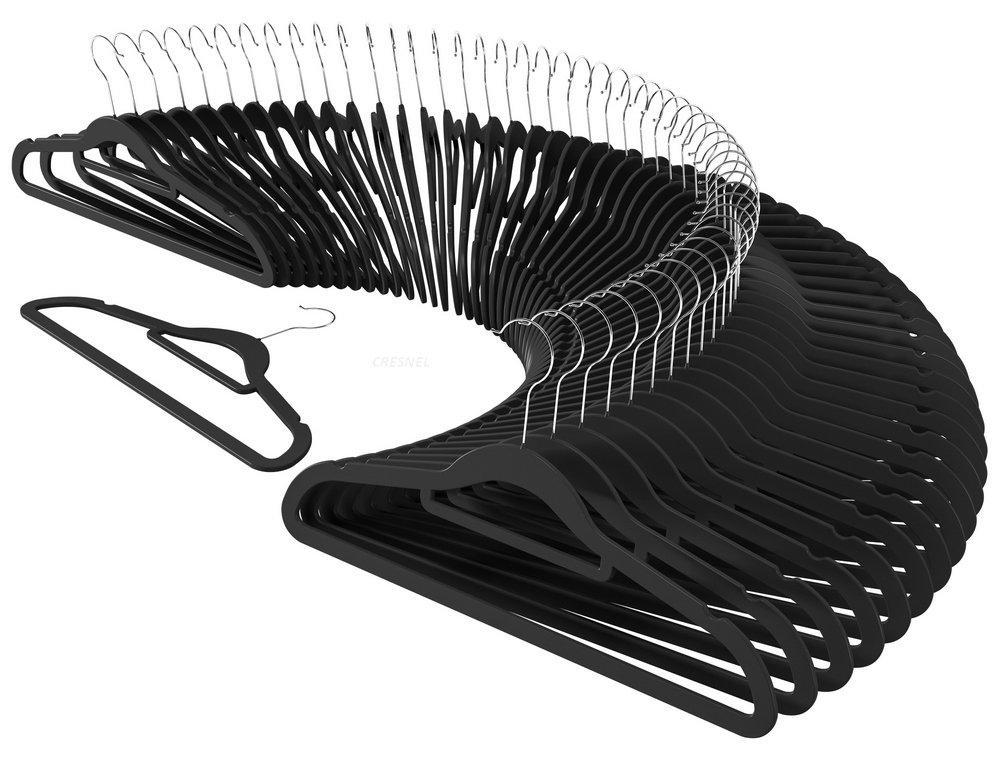 CRESNEL Non-Slip Velvet Clothes Hangers - Ultra Thin Space Saving Design for Men and Women Dress Suit - 50 pcs Set - Solid Black by