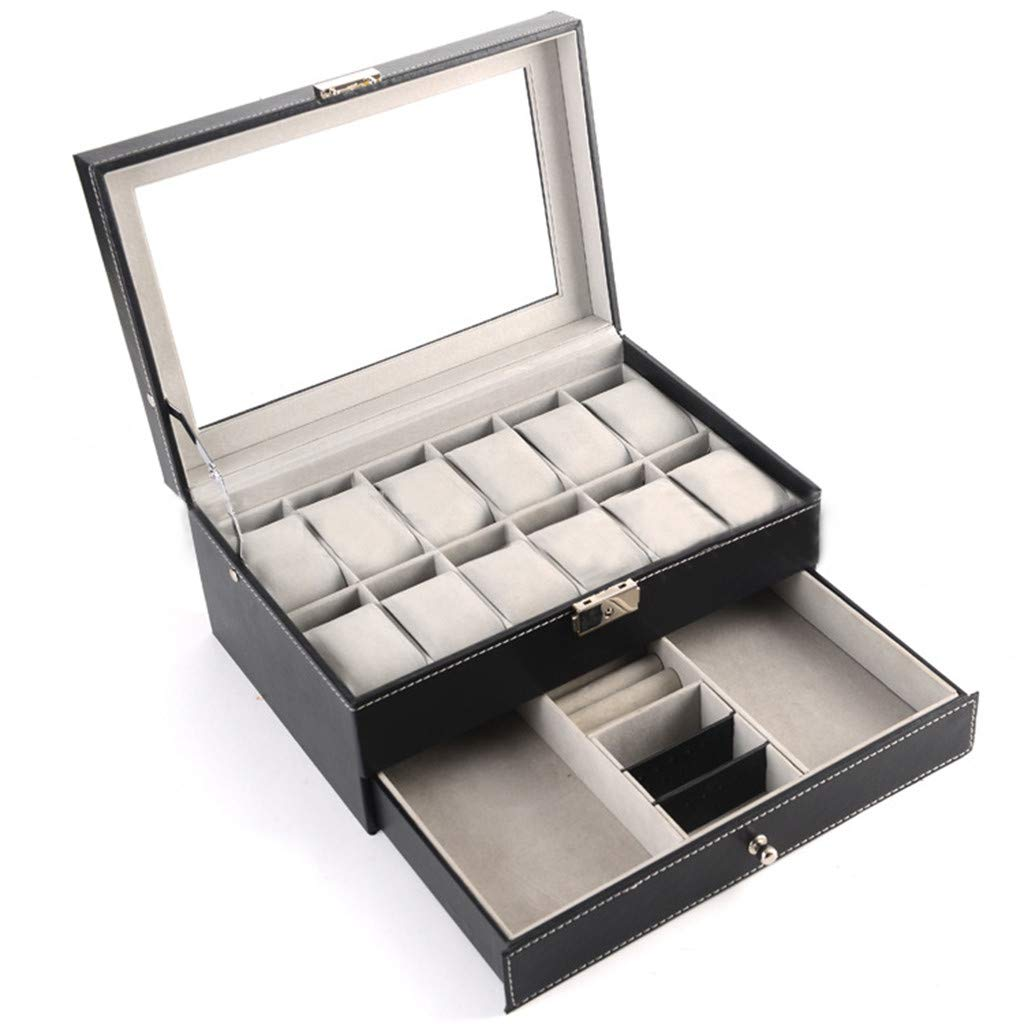 Leather Jewelry Case,Watch Rings Organizer with Drawer for Storage and Display 12 Slots (30x20x13cm)