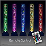 90cm Colour Changing Remote Controlled Sensory Mood LED Novelty Bubble Fish Lamp