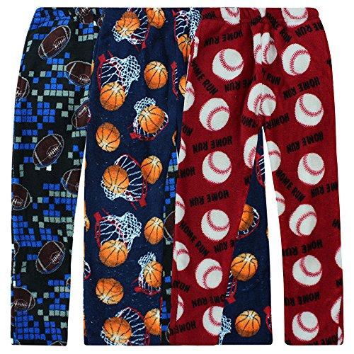 Boyz Club Pajama Bottoms for Boys - Pack of 3 - Sports Balls - Size 12/14