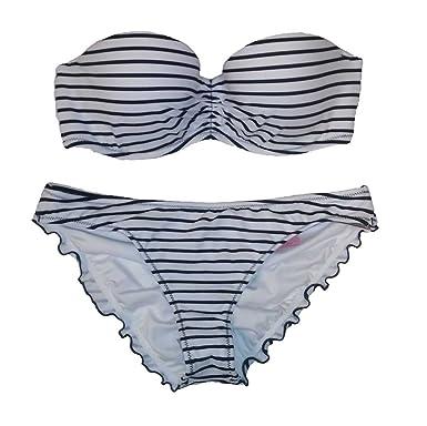 48f10f05c7c75 Victoria's Secret 2PC Swimsuit Bikini Set Flirt Bandeau Ruched Blk/Wht  XS-32C