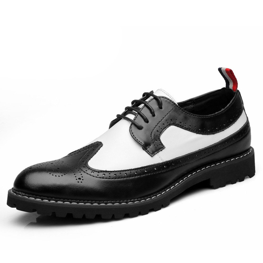 ZPFME Herren Leder Formelle Brogues Smart Hochzeit Schuhe Casual Schnürschuhe Derby Schuhe Für Männer Business Schuhe