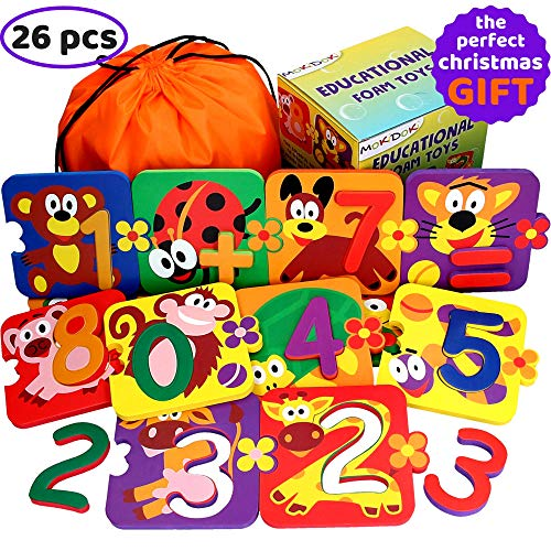 Foam Number Puzzles for Toddlers - Baby Learning Bath Toys for Kids - Best Preschool Educational Bathtub Animals Bathtime Early Game Boys Girls - Set 13 Puzzles 13 Numbers - Easy Fun Way to Teach Math ()