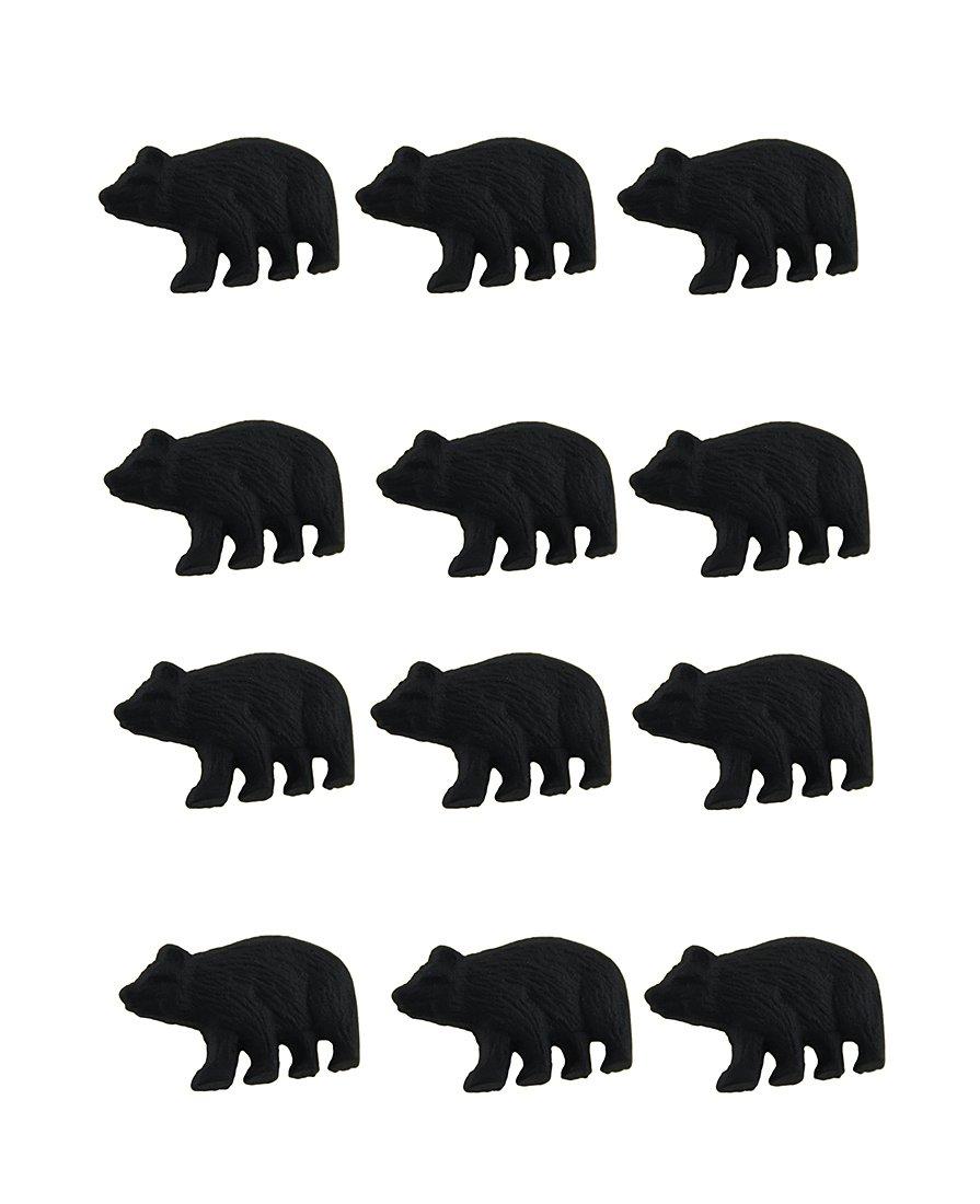 Zeckos 12 Piece Matte Black Forest Bear Cast Iron Drawer/Cabinet Knob Set