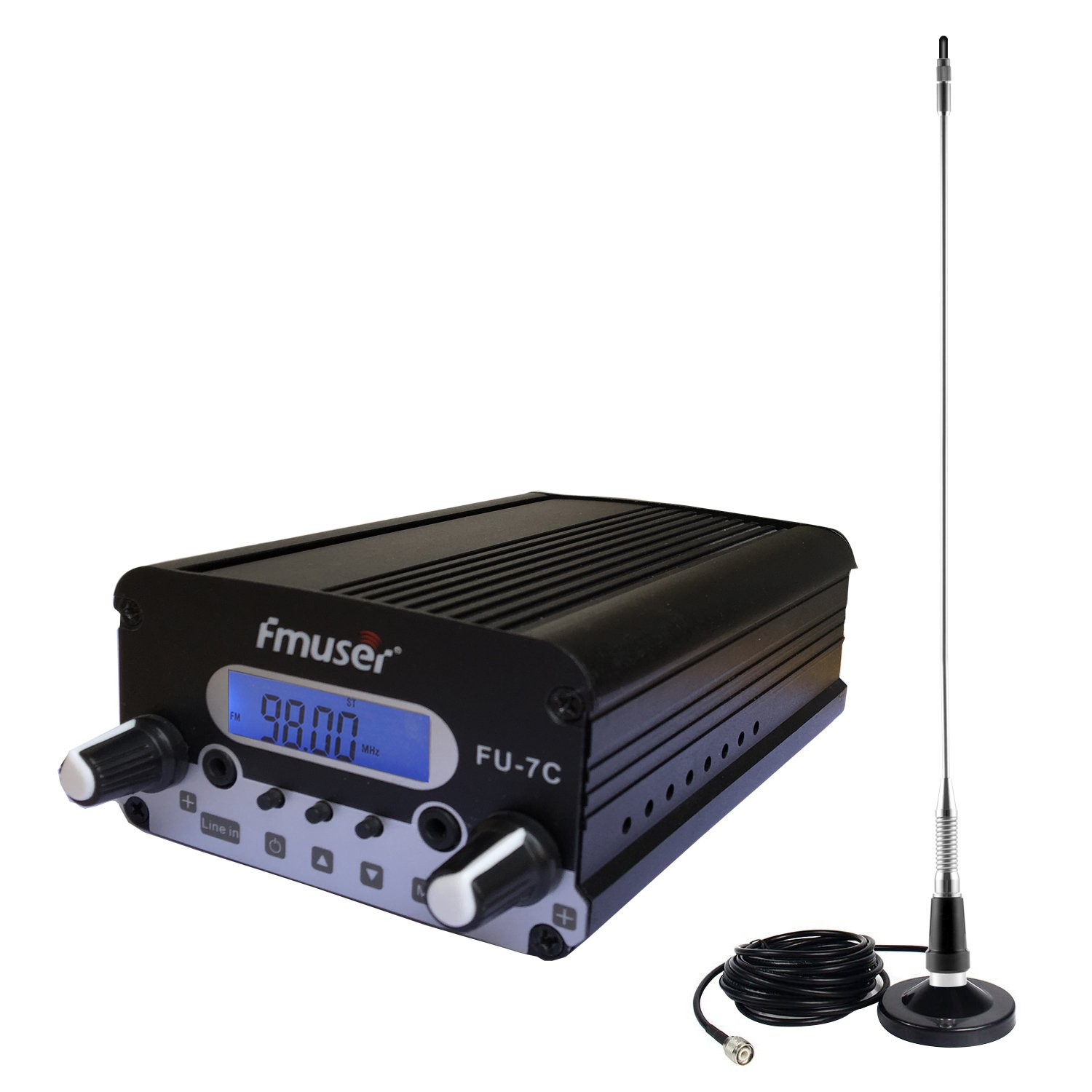 FMUSER FU-7C 1.5W / 7W Holiday Light Show FM Transmitter + Magnetic Mount Antenna + Power Adapter, FM Transmitter KIT for House, Campus, Church, Camping, Christmas Yard Displays, Outdoor Movie Nights