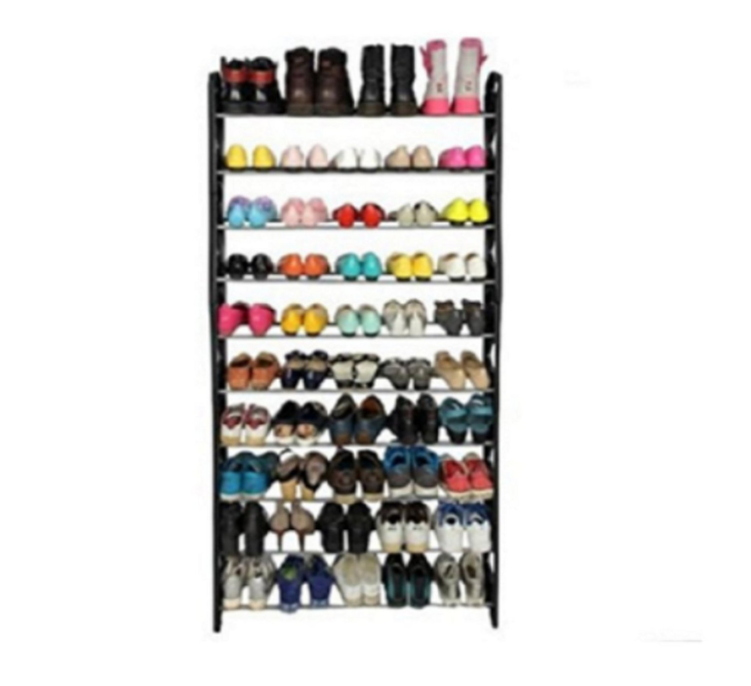 USA Premium Store 50 Pair 10 Tier Shoe Tower Rack Organizer Space Saving Shoe Rack Stainless Steel