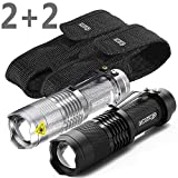 #3: NERO® 2PACK Tactical Super Bright LED Flashlights with Holsters 300LM Adjustable Focus Zoomable Light + 2 Belt Thick Cases, for Home Camping Hunting Fishing Perfect Gift for Men - Black and Silver