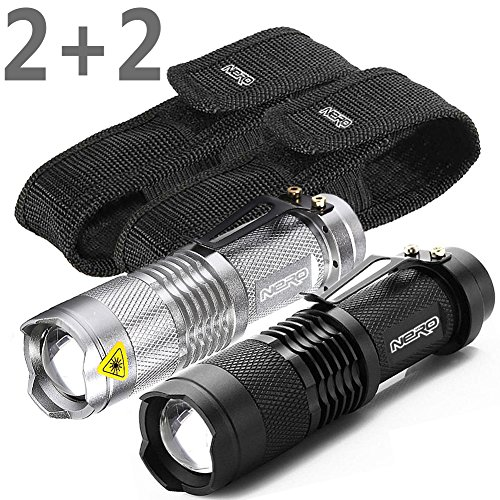 NERO® 2PACK Tactical Super Bright LED Flashlights with Holsters 300LM Adjustable Focus Zoomable Light + 2 Belt Thick Cases, for Home Camping Hunting Fishing Perfect Gift for Men – Black and Silver
