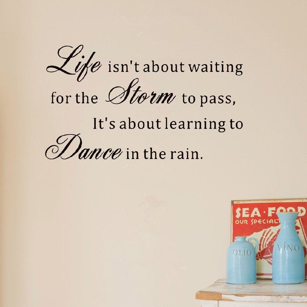 bliute Quote Wall Sticker Decal Quotes Vinyl Wall Decals Life Isn't About Waiting for The Storm to Pass It's About Learning to Dance in The rain by bliute